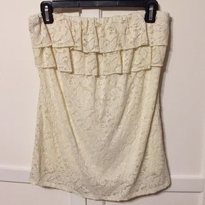 Maurice's Strapless Ivory lace top w/ ruffles - M